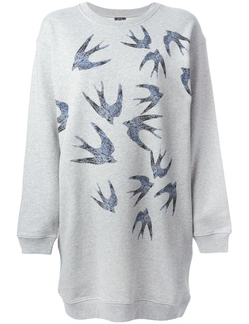 Mcq Alexander Mcqueen | Женское Cotton Swallow Flock Sweatshirt Dress From Featuring