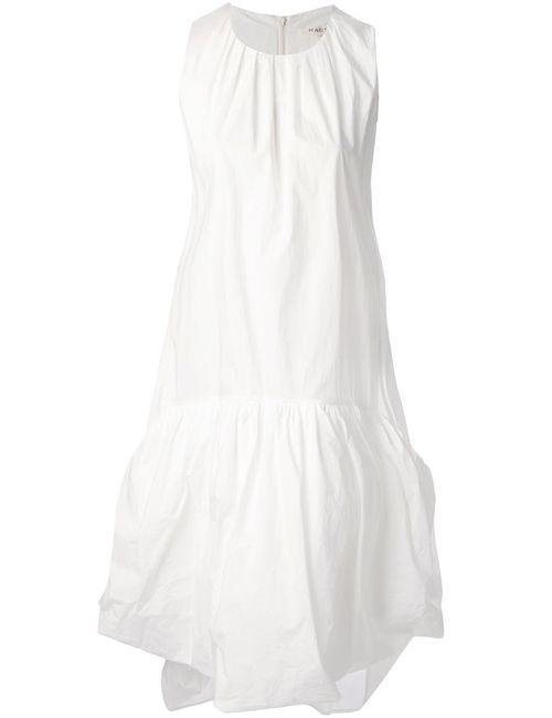 Hache | Женское Белое Платье С Заниженной Талией И Подолом С