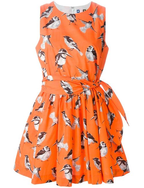 MSGM | Женское Cotton Bird Print Flared Dress From