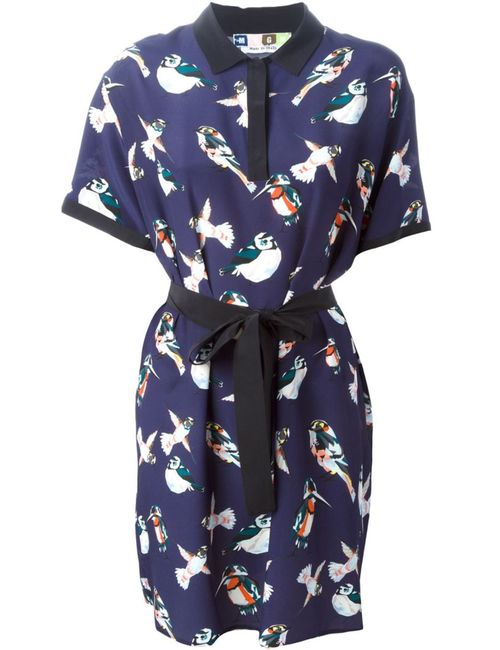 MSGM | Женское Silk Bird Print Polo Dress From