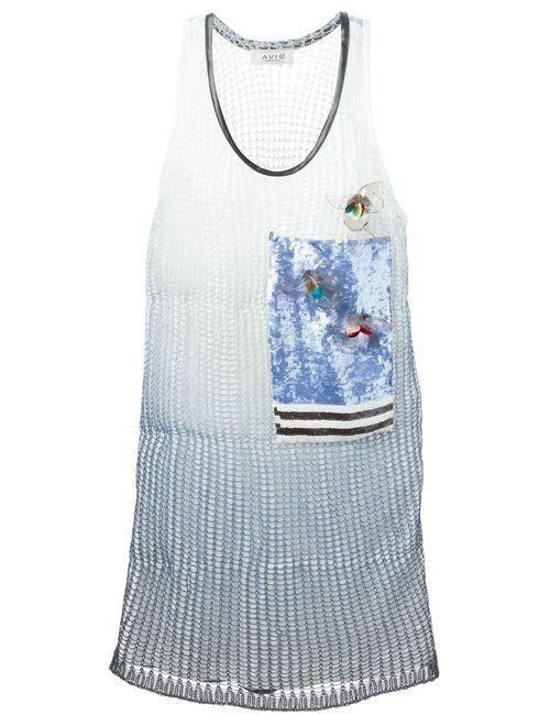 Aviù | Женское Синее Платье Шифт С Декорированной Панелью
