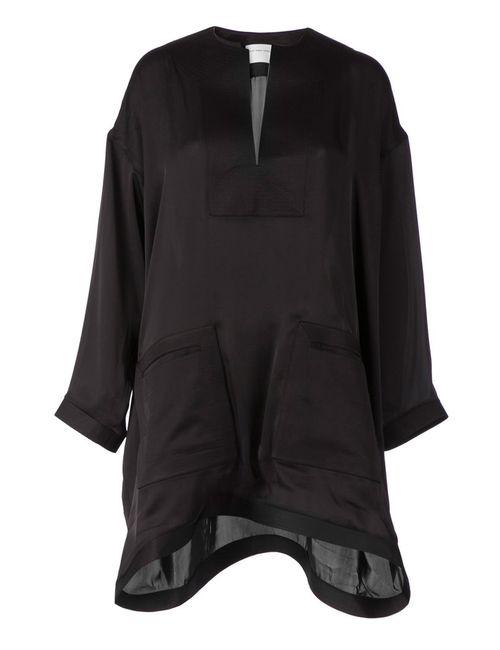 Maison Rabih Kayrouz | Женское Чёрное Платье-Туника Асимметричного Кроя