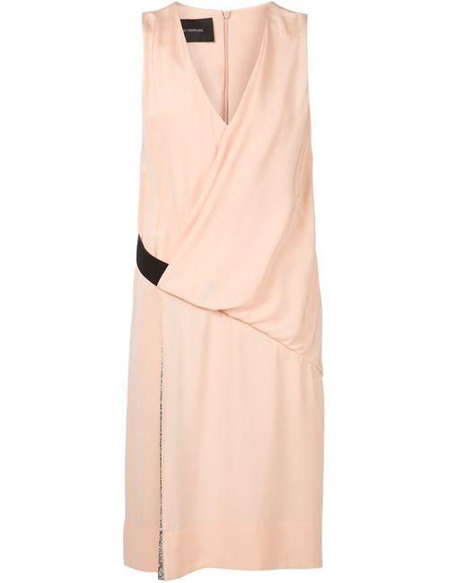 Cedric Charlier | Женское Розовое Драпированное Платье С Плиссированной Панелью
