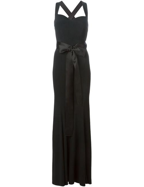 Dolce & Gabbana | Женское Чёрное Вечернее Платье С Атласным Поясом