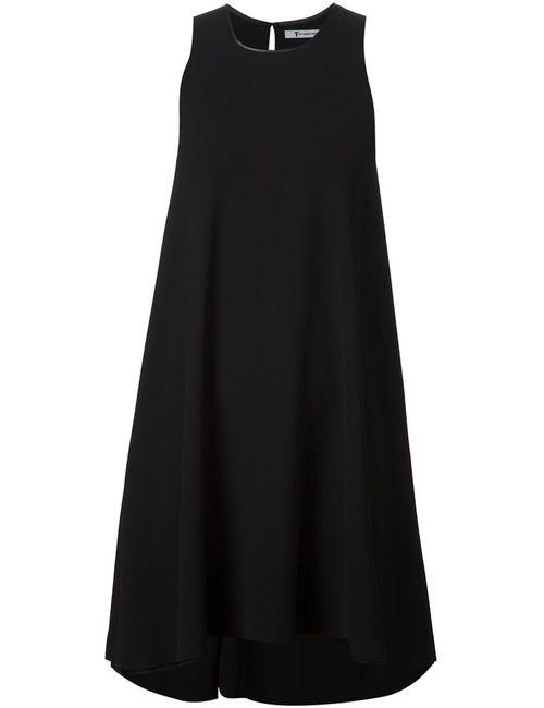 T By Alexander Wang | Женское Чёрное Креповое Платье С Кожаной Отделкой