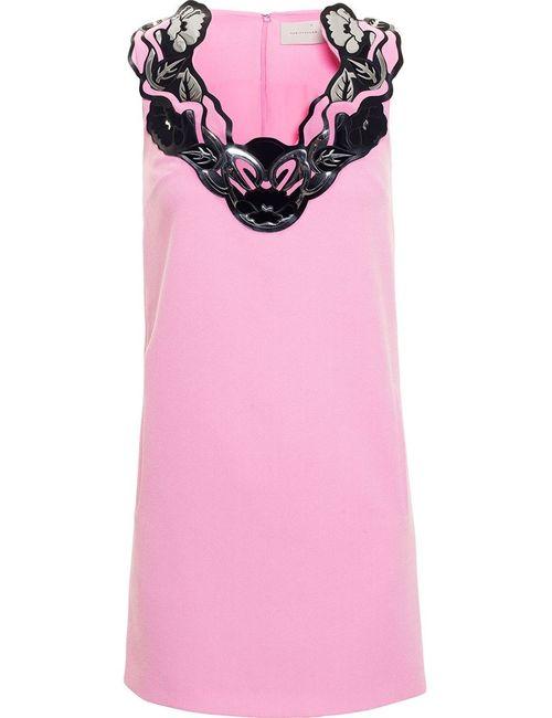 Christopher Kane | Женское Розовое Мини-Платье С Цветочной Аппликацией