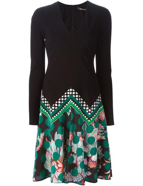 Roberto Cavalli | Женское Чёрное Платье C V-Образным Вырезом