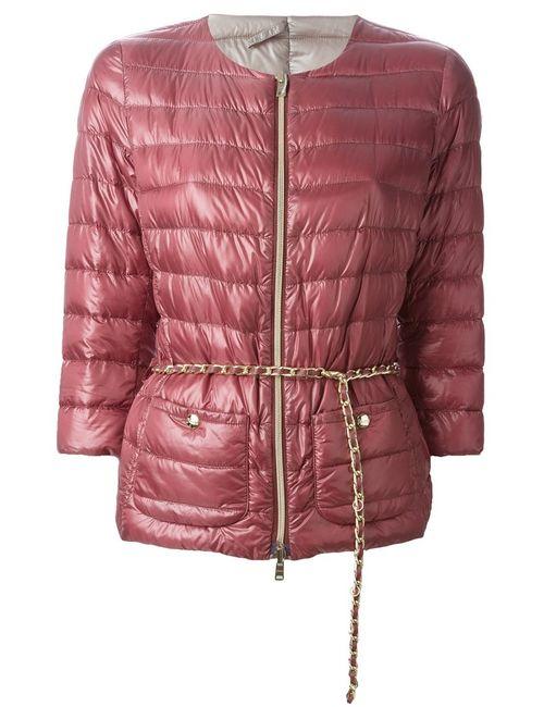 Herno | Женская Красная Дутая Куртка С Цепочным Поясом