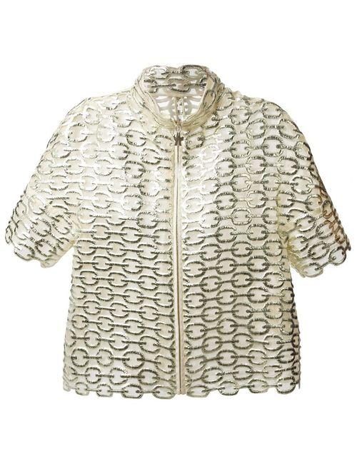 Moncler Gamme Rouge | Женская Серебристая Укороченная Куртка С Металлическим Отблеском