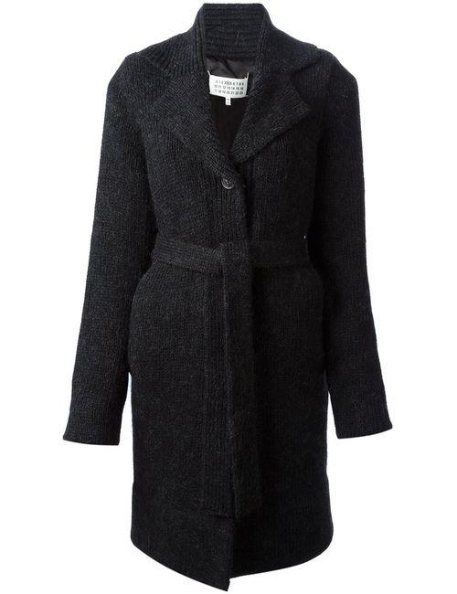 Maison Margiela | Женское Синее Вязаное Пальто-Кардиган С Поясом