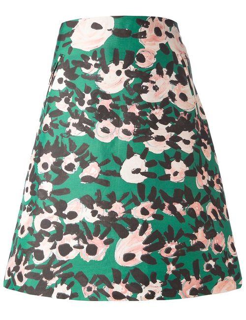 Marni | Женское Зелёный Cotton And Silk Flower Print A-Line Skirt