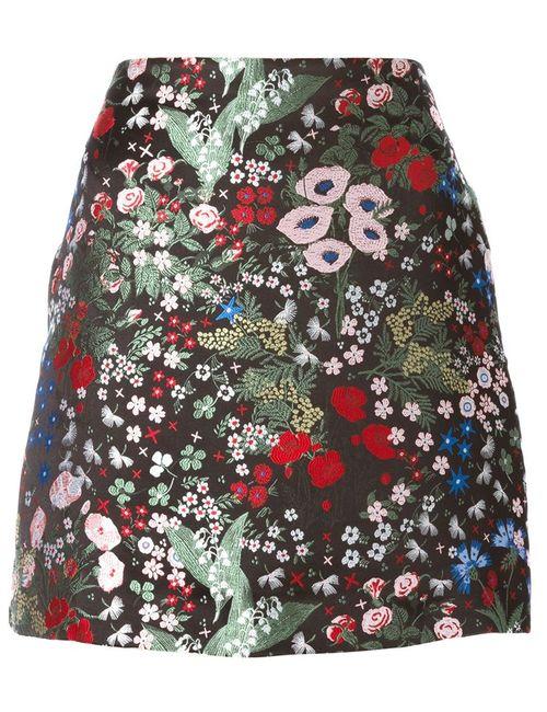 Valentino | Женская Чёрная Юбка С Цветочной Вышивкой