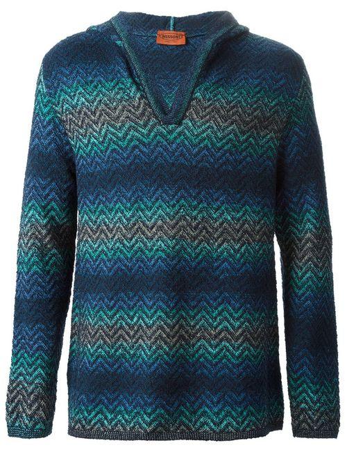 Missoni | Мужское Tonal Cotton Blend Zig Zag Knit Hoodie