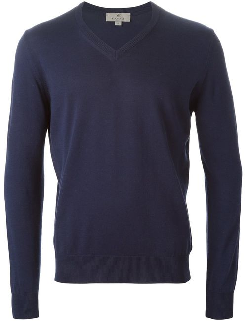 Canali | Мужское Navy Cotton V-Neck Sweater From