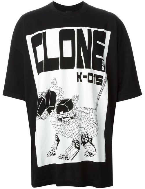 Ktz | Мужское Чёрный And Cotton Clone Print T-Shirt From