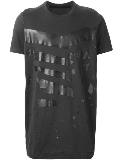 JULIUS | Мужское Charcoal Cotton Abstract Print T-Shirt From