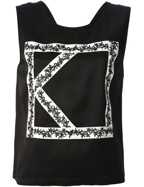 Kenzo | Женская Чёрная Блузка С Аппликацией Логотипа