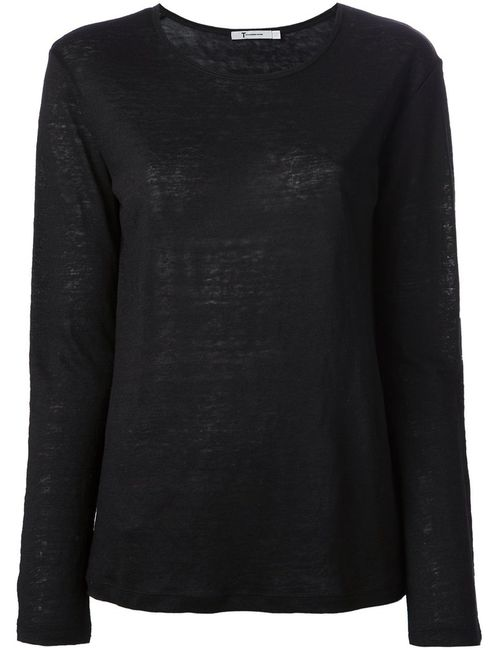 T By Alexander Wang | Женское Чёрный Linen Blend Loose Fit Jersey From Featuring