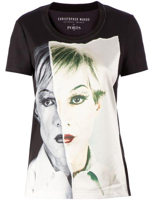 Ports | Женское Черный Appliqué Portrait T-Shirt
