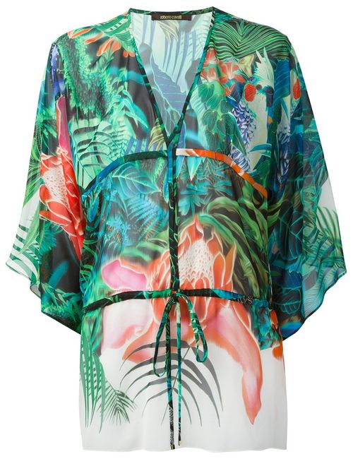 Roberto Cavalli | Женское Multicolour Multicoloured Silk Tropical Print Kaftan From Featuring