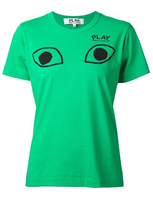 Comme Des Garcons | Женская Зелёная Футболка С Принтом Глаз