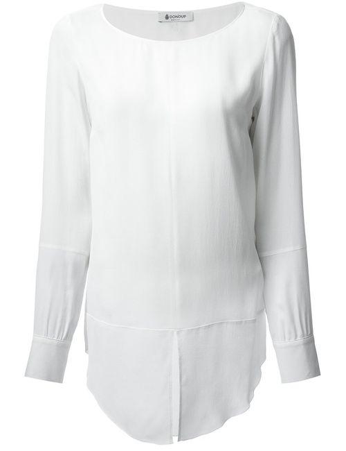 Dondup   Женская Белая Блузка С Разрезом Спереди