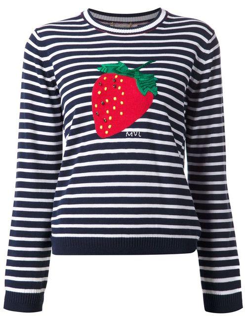Muveil | Женское Синий Stripe And Strawberry Print Top