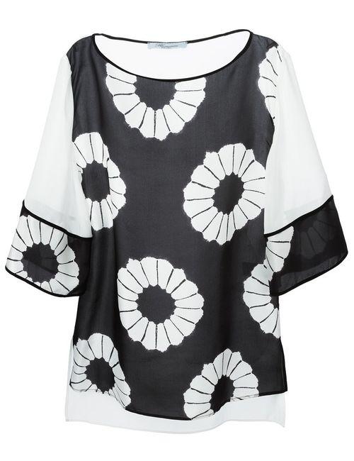Blumarine | Женская Чёрная Блузка С Цветочным Принтом