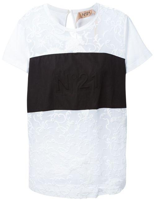 No21 | Женское Белый Sheer Lace Logo Panel T-Shirt