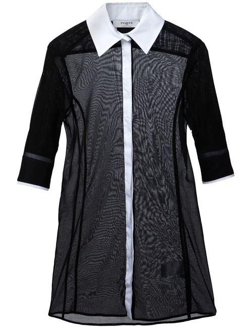Ports | Женская Черный Прозрачная Рубашка С Рукавами По Локоть