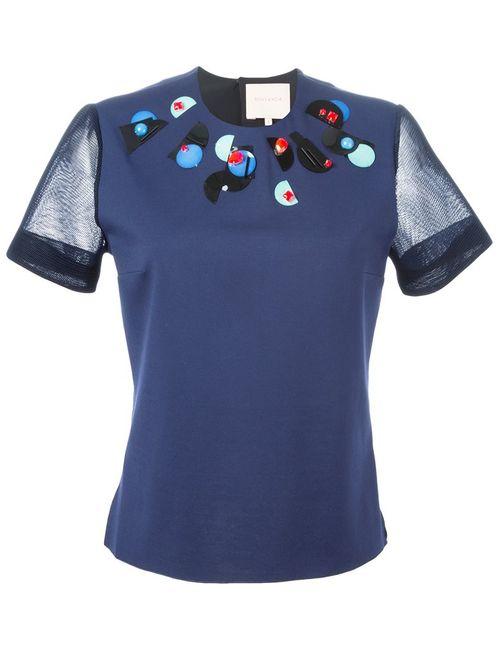 ROKSANDA | Женский Синий Декорированный Топ С Прозрачными Рукавами