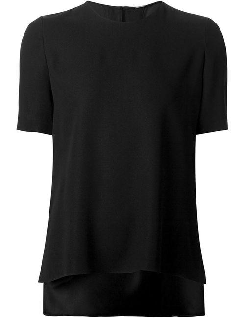 Adam Lippes | Женская Чёрная Блузка С Неравномерным Подолом