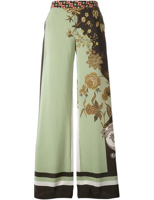 Etro | Женское Зелёный Multicoloured Silk Contrast Back Wide Leg Trousers