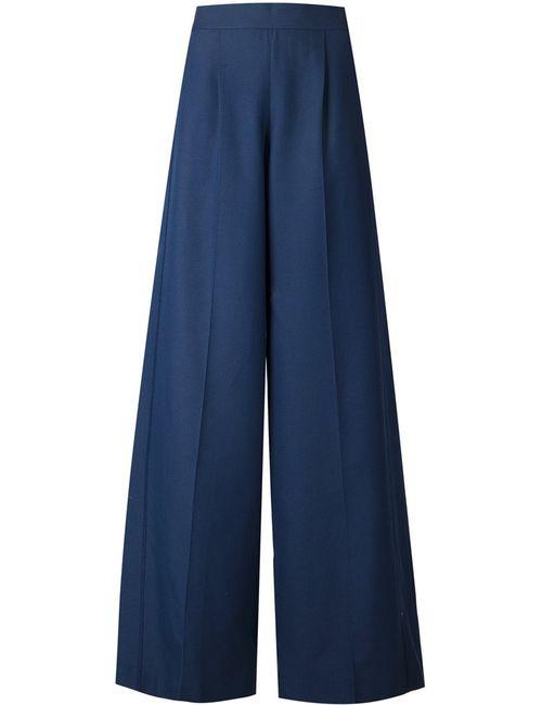 Viktor & Rolf | Женское Navy Silk-Cotton Blend Wide Leg Trousers From