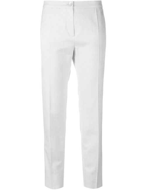 Blumarine | Женское Белый Cotton And Cotton Blend Front Pleat Trousers