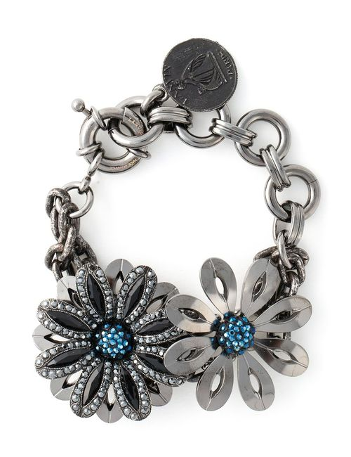 Lanvin | Женское Серебристый Dark Glass And Brass Flower Bracelet From