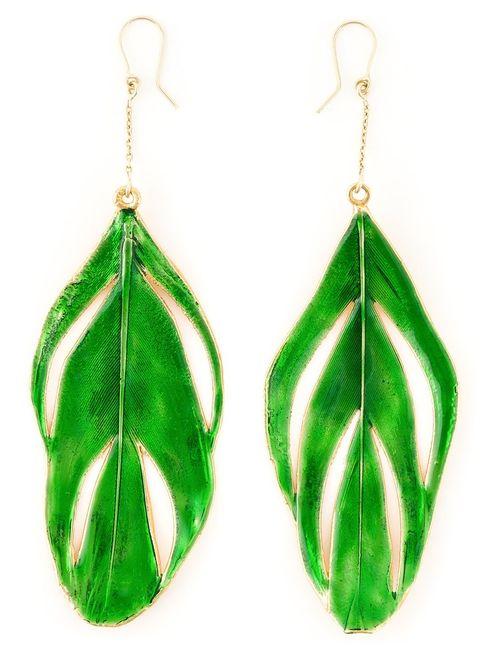 Aurelie Bidermann | Женское Зелёный Swan Feather Earrings