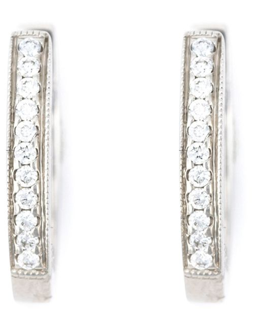 WOUTERS & HENDRIX GOLD | Женское Серебристый Diamond Hoop Earrings From Featuring Pave Set