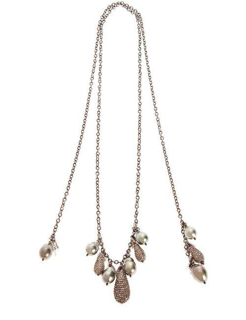 SAMIRA13 | Женское Черный Tahitan Pearl And Pave Diamond Encrusted Necklace