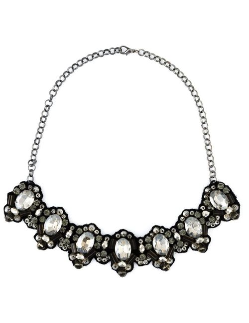 Dice Kayek | Женское Черный Crystal Stone On Fabric Necklace From