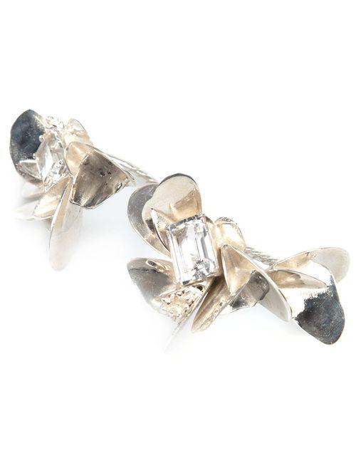 YUKIE DEUXPOINTS   Женское Серебристый Yukié Deuxpoints Crystal Detail Hand Ring