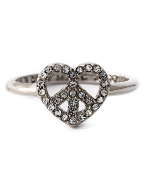 Marc by Marc Jacobs | Женское Серый -Tone Brass Crystal Embellished Heart-Peace Ring From