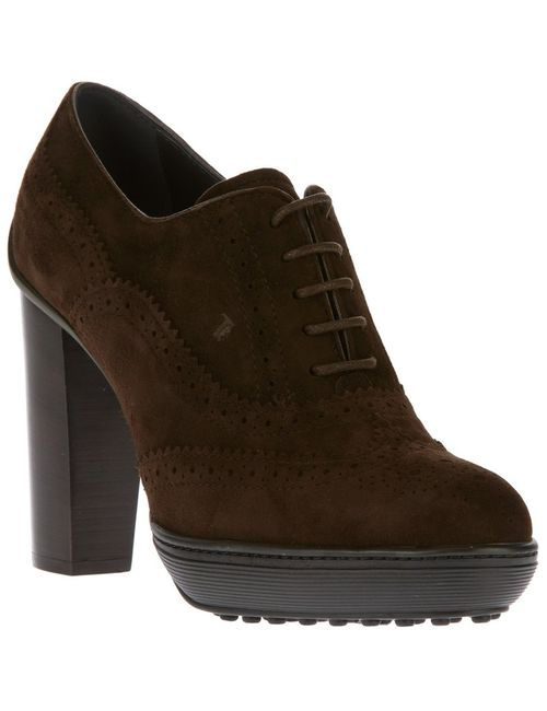 Tod'S | Женское Коричневый Dark Other-Rubber High Chunky Heel Brogues From