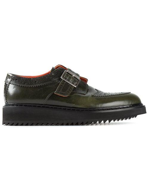 Kris Van Assche | Мужские Зелёные Ботинки-Дерби С Ребристой Подошвой