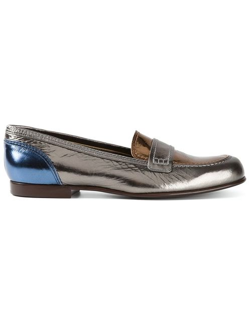Lanvin | Женское Metallic Bronze Leather Loafers From Featuring An Almond
