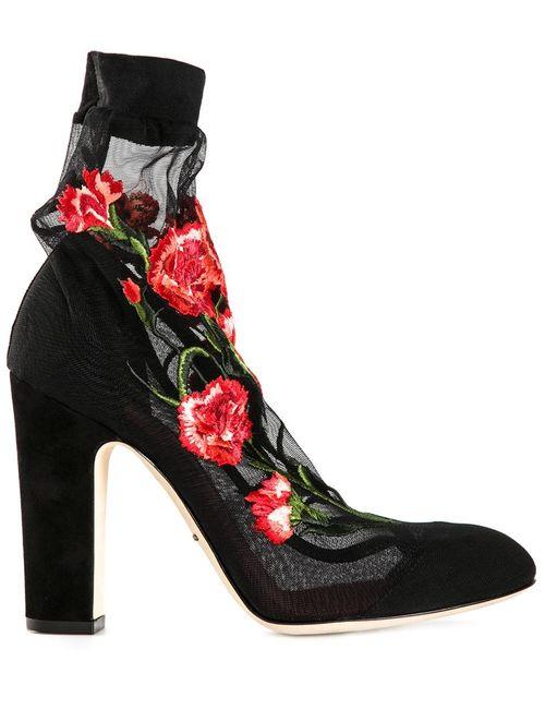 Dolce & Gabbana | Женские Чёрные Туфли С Цветочной Вышивкой