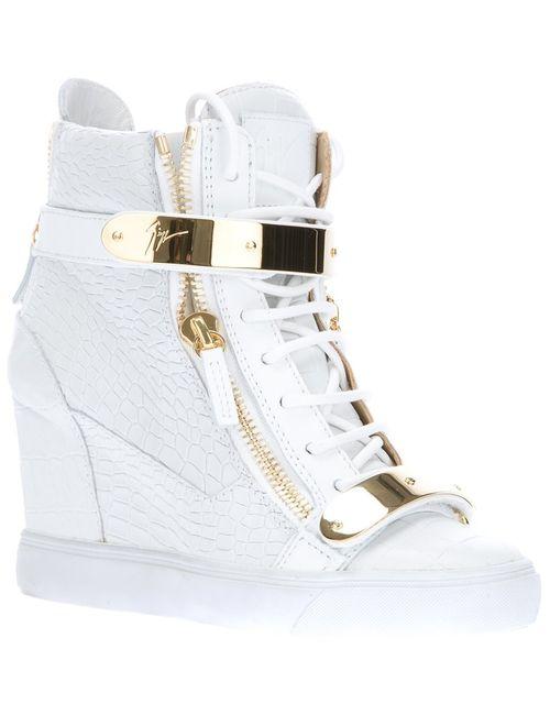 Giuseppe Zanotti Design | Женское Белый Wedge Hi-Top Sneakers