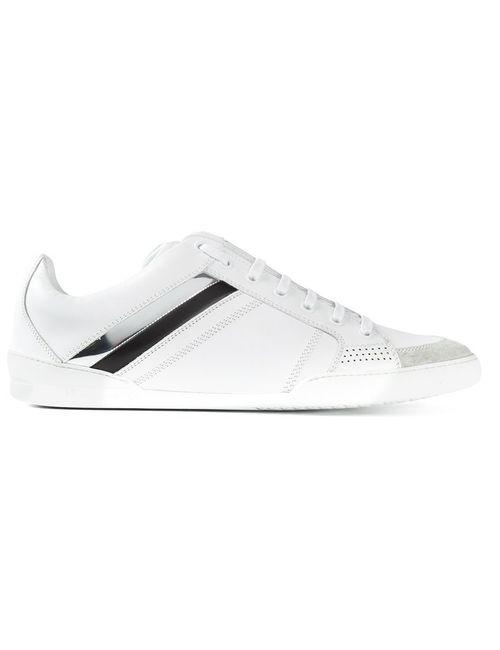 Dior Homme   Мужские Белые Кроссовки С Лакированными Полосками