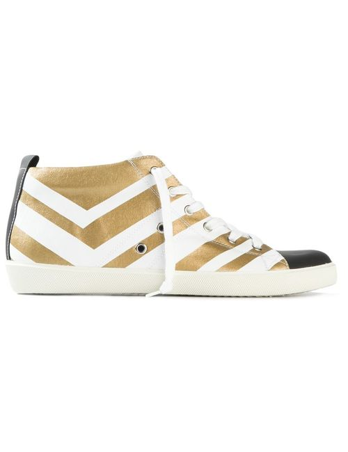 Leather Crown | Женское -Tone And Calf Leather Striped Lace-Up Sneakers