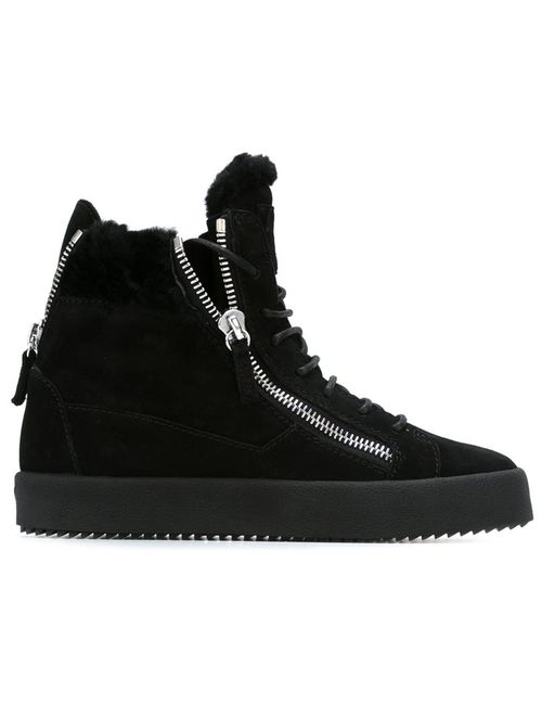 Giuseppe Zanotti Design | Женское Чёрный Suede Fur Trimmed Hi-Top Sneakers From Featuring